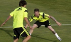 Alberto Moreno, right, takes part in a Spain training session