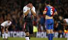 A crying Luis Suarez just after the final whistle in Crystal Palace 3-3 Liverpool
