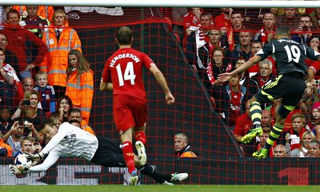 Liverpool keeper Simon Mignolet saves a penalty from Stoke City's Jonathan Walters
