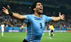 Luis Suarez celebrates his second
