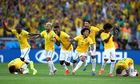 Brazil celebrate after their dramatic World Cup penalty shoot-out win over Chile