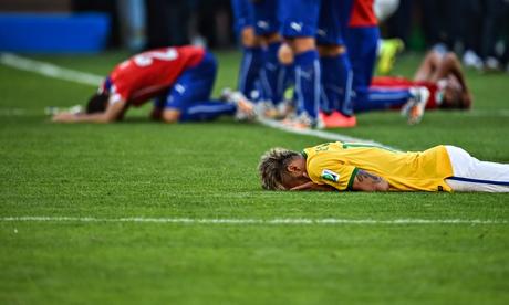 Brazil's forward Neymar reacts