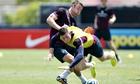 Gary Cahill and Ross Barkley at England training