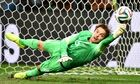 Tim Krul saves a penalty.