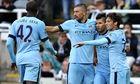 David Silva, far right, congratulates Sergio Agüero for his late goal in the win over Newcastle Unit