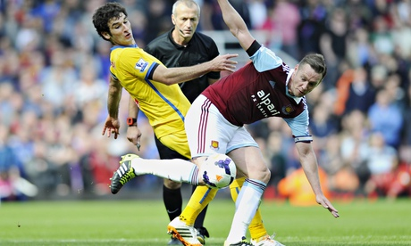 Crystal Palace's Mile Jedinak in action with West Ham United's Kevin Nolan