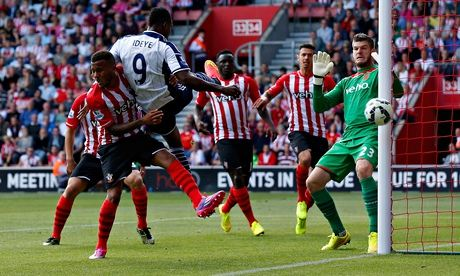 West Brom's Brown Ideye heads the ball wide of the goal against Southampton in the Premier League