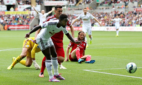 Swansea City's Nathan Dyer scores the first goal against West Brom in the Premier league