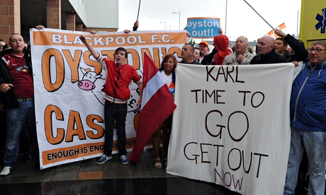 Blackpool fans protest outside Bloomfield Road during friendly against Burnley