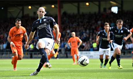 Gary Harkins opens the scoring for Dundee against Kilmarnock in the Scottish Premiership match