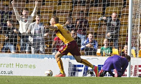 Motherwell's Lee Erwin celebrates against St Mirren in the Scottish Premiership match at Fir Park