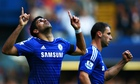 Chelsea's Diego Costa celebrates his second goal against Swansea City in the Premier League