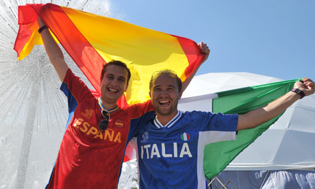 An Italian and a Spanish football fan in Kiev