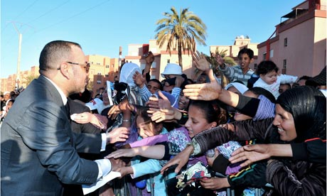 The king of Morocco Mohammed VI greets t