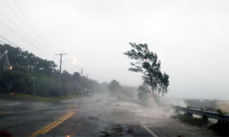 Hurricane Irene batters Southampton on Long Island, on Sunday 28 August