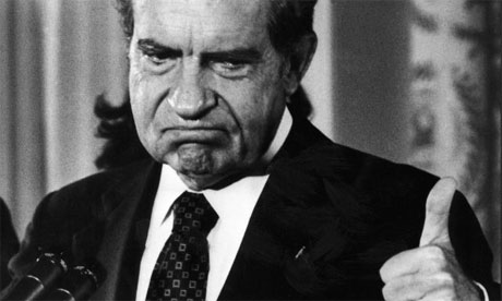 Richard Nixon, after resigning the presidency in 1974