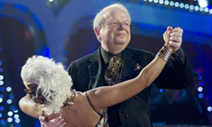 John Sergeant dancing with Kristina Rihanoff during a dress rehearsal for Strictly Come Dancing