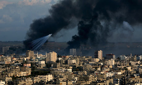 Smoke rises following an Israeli missile strike in the east of Gaza City
