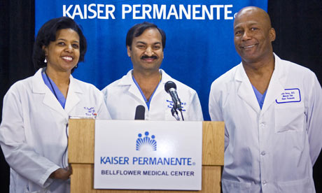 A news conference at the Kaiser Permanente Bellflower Medical Centre in Bellflower, California