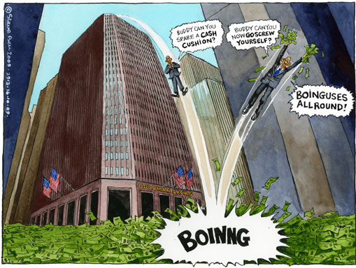 Steve Bell cartoon - Goldman Sachs breaks record with $16.7bn bonus pot