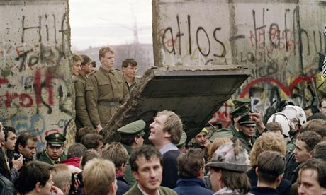 A gap in the Berlin Wall two days after it was breached, 11 November 1989