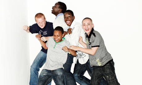 Teen boys group. Clockwise, from left: Callum, Isaac, Akeim, ...