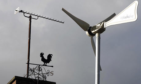 A wind turbine sits on the roof of Ashton Hayes Primary School, in Ashton Hayes, near Chester