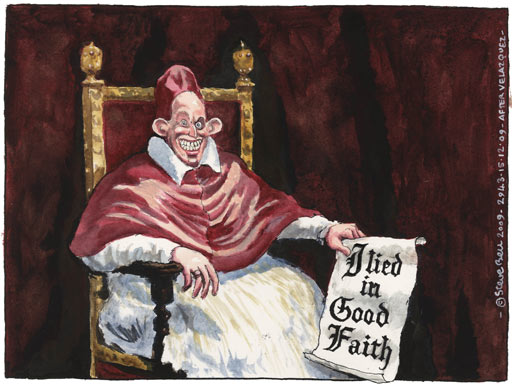Steve Bell Cartoon - Tony Blair saying, I Lied in Good Faith