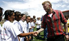 David Beckham meets children from the Coaching for Hope project