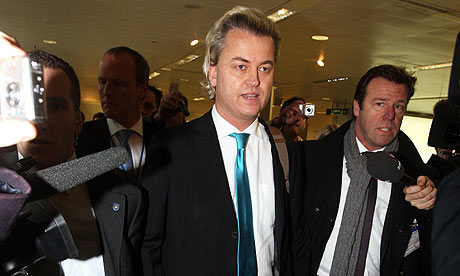 Far-right Dutch MP Geert Wilders arrives at Heathrow airport