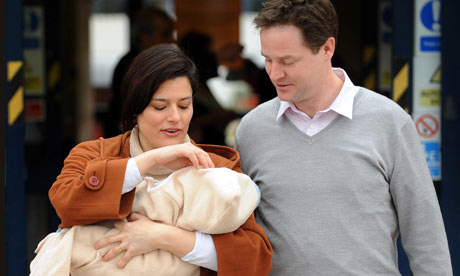 Nick Clegg with his wife Miriam Gonzalez Durantez holding their new son, Miguel