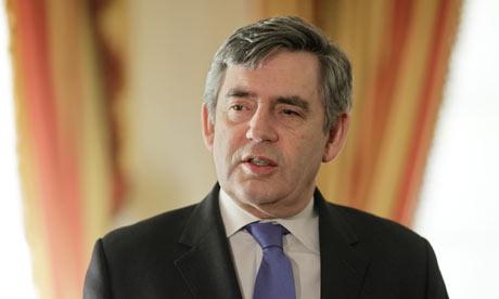 Gordon Brown at the British Embassy in Washington