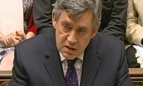 Gordon Brown speaks during Prime Minister's Questions in the House of Commons