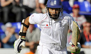Monty Panesar and James Anderson in action on the  last day of the first Ashes test