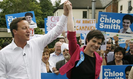 David Cameron congratulates candidate Chloe Smith
