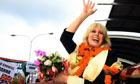 Joanna Lumley waves to supporters in Nepal