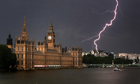 Lightning strikes near the Houses of Parliament, in London