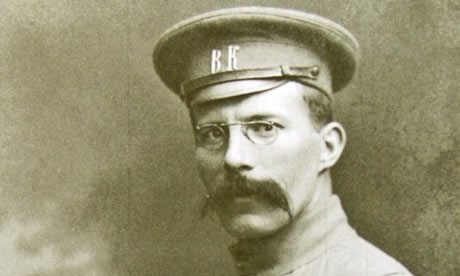 Arthur Ransome wearing his press corps uniform for reporting in Russia on the eastern front