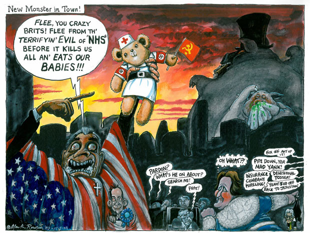 Martin Rowson cartoon - New Monster in Town