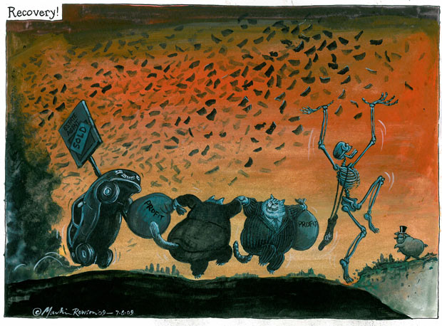Martin Rowson cartoon - Recovery!