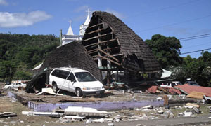 A destroyed structure in the village of Leone, Samoa following a tsunami