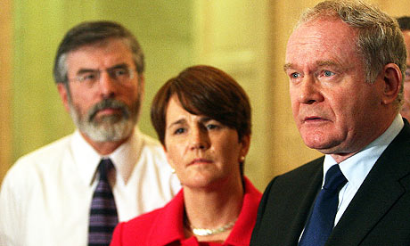 Sinn Féin's Martin McGuinness, Gerry Adams and Catriona Ruane at Stormont