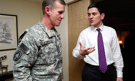 General Stanley McChrystal with Britain's foreign secretary, David Miliband, in Kabul.