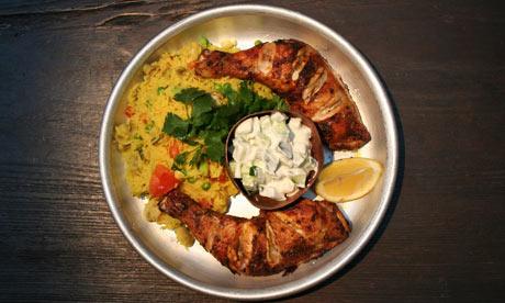 chicken leg with biryani