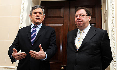 Gordon Brown with Irish taoiseach Brian Cowen at Hillsborough Castle, Belfast.