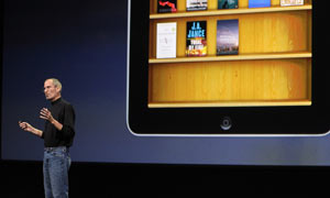 Steve Jobs launches the Apple iPad tablet computer