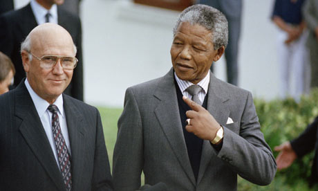 FW de Klerk and Nelson Mandela in 1990