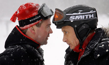 Dmitry Medvedev and Vladimir Putin during at Krasnaya Polyana mountain ski resort, Russia