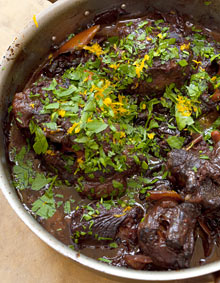 Oxtail with prunes and orange