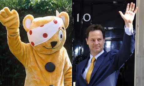 Pudsey Bear and Nick Clegg